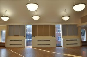 Ashford Hall in Birmingham with absorbent acoustics panels added to control unwanted sounds.