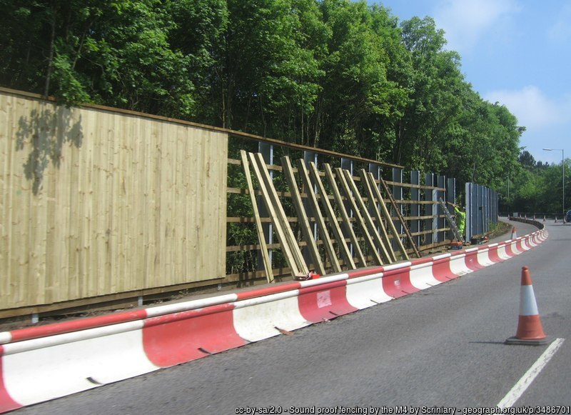 Mitigation of unwanted sound and noise by installing acoustic an fencing sound barrier being installed on the M4